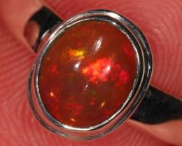 Sz 6 Ethiopian Welo Opal Ring. Sterling Silver. Fire.