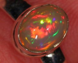 Sz 8.25 Ethiopian Welo Opal Ring. Sterling Silver. Fire