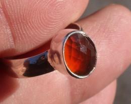 Bezel set Opal gem taxco silver ring sz 5.25