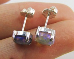 Natural Blue crystal opal Earrings in silver PL 986
