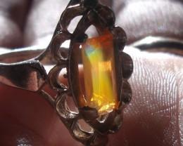 Opal gem taxco silver ring sz 6.75
