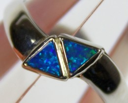 7 RING SIZE BLACK OPAL CRYSTAL INLAY STERLING SILVER 925 C4423