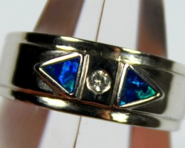 7.5 RING SIZE BLACK OPAL CRYSTAL INLAY STERLING SILVER 925 C4426