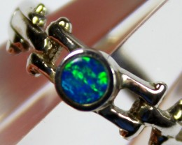 6 RING SIZE BLACK OPAL CRYSTAL INLAY STERLING SILVER 925 C4429
