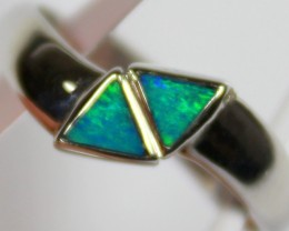 7 RING SIZE BLACK OPAL CRYSTAL INLAY STERLING SILVER 925 C4430