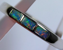 7 RING SIZE BLACK OPAL CRYSTAL INLAY STERLING SILVER 925 C4433
