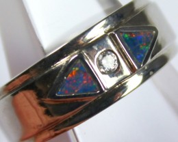 7.5 RING SIZE BLACK OPAL CRYSTAL INLAY STERLING SILVER 925 C4443