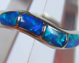 7.5 RING SIZE BLACK OPAL CRYSTAL INLAY STERLING SILVER 925 C4446