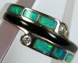 7.5 RING SIZE BLACK OPAL CRYSTAL INLAY STERLING SILVER 925 C4450