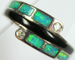 7.5 RING SIZE BLACK OPAL CRYSTAL INLAY STERLING SILVER 925 C4452
