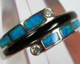 7.5 RING SIZE BLACK OPAL CRYSTAL INLAY STERLING SILVER 925 C4457