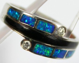 7.5 RING SIZE BLACK OPAL CRYSTAL INLAY STERLING SILVER 925 C4459