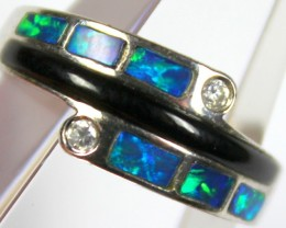 7.5 RING SIZE BLACK OPAL CRYSTAL INLAY STERLING SILVER 925 C4460