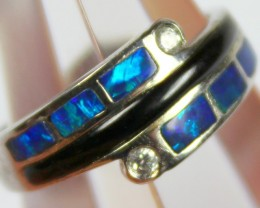 7.5 RING SIZE BLACK OPAL CRYSTAL INLAY STERLING SILVER 925 C4463