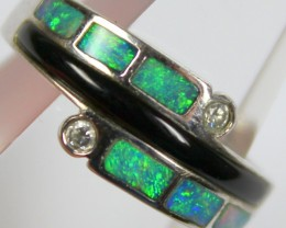 7.5 RING SIZE BLACK OPAL CRYSTAL INLAY STERLING SILVER 925 C4464