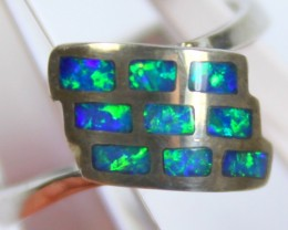 7 RING SIZE  OPAL CRYSTAL INLAY STERLING SILVER 925 C4468