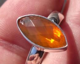 Bezel set Opal gem taxco silver ring sz 7.0