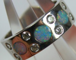 7.5 RING SIZE BLACK OPAL CRYSTAL INLAY STERLING SILVER 925 C4471