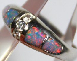 7.5 RING SIZE BLACK OPAL CRYSTAL INLAY STERLING SILVER 925