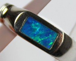 7 RING SIZE BLACK OPAL CRYSTAL INLAY STERLING SILVER 925 C4478