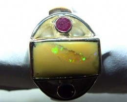 RING BOULDER SOLID OPAL 37.7  CTS SIZE- 8.5 OF-325