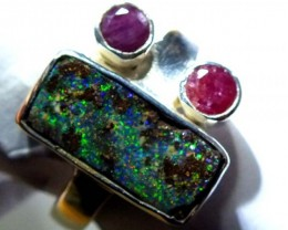 RING BOULDER SOLID OPAL  28 CTS SIZE-7.5  OF-328