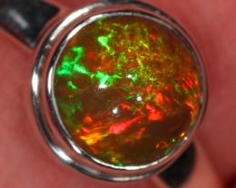 Sz 8 Ethiopian Welo Opal Ring. Sterling Silver. Fire