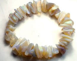 WHITE OPAL BEADS BRACELET DRILLED  180 CTS  TBO 885