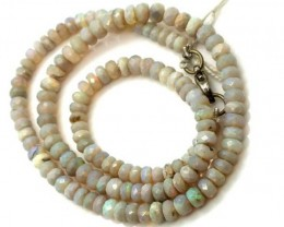 WHITE OPAL BEADS FACETED DRILLED NECKLACE 70 CTS  TBO 909