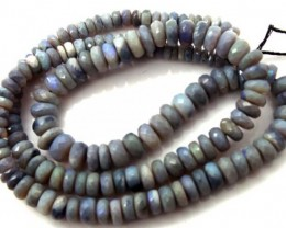 BLACK OPAL BEADS FACETED  DRILLED NECKLACE 80 CTS  TBO-932