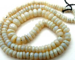 WHITE OPAL BEADS FACETED  DRILLED NECKLACE 80 CTS  TBO-934