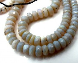 90  CTS WHITE OPAL BEADS FACETED  DRILLED NECKLACE TBO-935