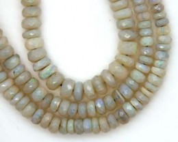 50 CTS WHITE OPAL BEADS FACETED  DRILLED NECKLACE TBO-937