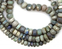 BLACK OPAL BEADS FACETED  DRILLED NECKLACE 50 CTS  TBO-943