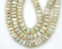 75 CTS WHITE OPAL BEADS FACETED  DRILLED NECKLACE  TBO-949