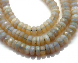 WHITE OPAL BEADS FACETED  DRILLED NECKLACE 50  CTS  TBO- 953