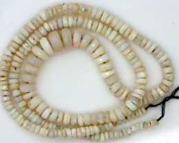 WHITE OPAL BEADS FACETED  DRILLED NECKLACE 45 CTS  TBO-957