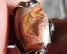 Bezel set Welo Opal gem taxco silver ring sz 7.75