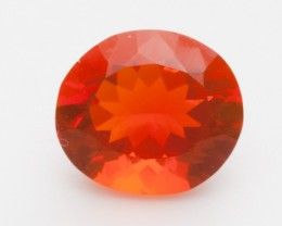3.3ct Faceted Dark-Orange Oval Mexican Fire Opal (MO221)
