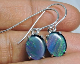 8x6mm Triplet opal Earrings  silver  Sheppard hooks PL 1011