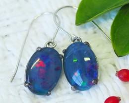 Large Triplet opal Earrings  silver  Sheppard hooks PL 1020
