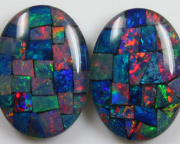 14.00 CTS  HAND MADE MOSAIC 18 x 13 x 3 MM PAIR