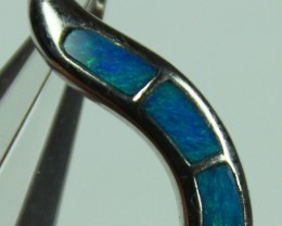 4.80 CTS INLAY STERLING SILVER CRYSTAL OPAL PENDANT 925 C5017