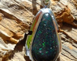 Teardrop Pendant set in Native Sterling Silver