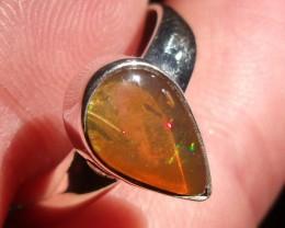 Bezel set Opal gem taxco silver ring sz 7.25