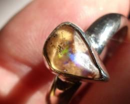 Bezel set Opal gem taxco silver ring sz 10.0