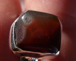 Bezel set Opal gem taxco silver ring sz 7.75