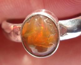 Bezel set Opal gem taxco silver ring sz 8.75
