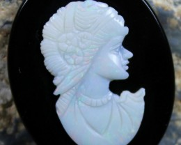 26.90 CTS WHITE OPAL CRYSTAL CAMEO LADY CARVING C5361
