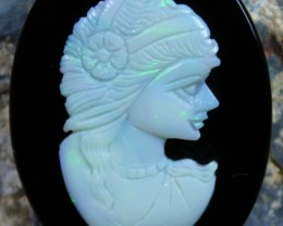 33.40 CTS WHITE OPAL CRYSTAL CAMEO LADY CARVING C5363